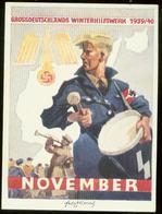 WW II WHW Spendenblatt 1939 / 1940:Adler Mit Hakenkreuz ,HJ , Hitlerjunge Mit Trommel, November. Sehr Selten ! - Deutschland