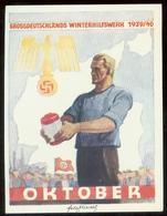 WW II WHW Spendenblatt 1939 / 1940:Adler Mit Hakenkreuz ,Arbeiter Mit Sammeldose,Oktober. Sehr Selten ! - Deutschland
