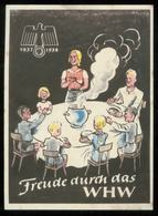 WW II WHW Spendenblatt : Adler Hakenkreuz ,Familie, 1937 /1938 , Mit Gummi. - Deutschland