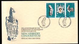 New, Nouvelles Hebrides,25e Anniversaire Du Couronnement De Sa Masjesté La Reine Elisabeth II, Oblitération Cheval - FDC