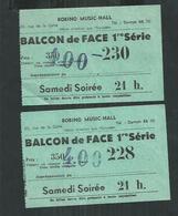 2 Billets De Bobino Music Hall De 1957 - Tickets D'entrée