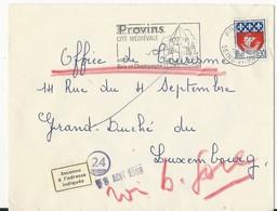 Lettre De Provins En France Vers Le Luxembourg (inconnu) - Marcophilie - EMA (Empreintes Machines)