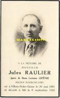 Raulier Jules - Bourgmestre Villers-notre-dame ( Ath )1891/1945 - Décès