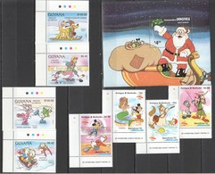 D157 DOMINICA GUYANA ANTIGUA & BARBUDA ART DISNEY CHRISTMAS 1981 OLYMPIC SPORTS 2SET+1BL MNH - Disney