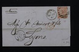 ROYAUME UNI - Lettre De Londres Pour Lyon En 1867 , Affranchissement Plaisant -  L 21023 - Marcofilie