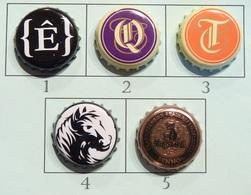 Lot N° 05-2 : 5 Capsules De Bière (parfait état - Pas De Trace De Décapsuleur) - Bière