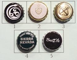 Lot N° 08-2 : 5 Capsules De Bière (parfait état - Pas De Trace De Décapsuleur) - Bière