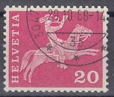 SCHWEIZ, 699, Gestempelt, Mit Abart: Linie Unter Kinn Unterbrochen, Postreiter 1960 - Variétés