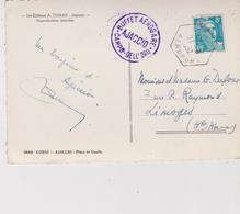 CACHET AEROPORT AJACCIO . BUFFET AEROGARE  SUR CARTE POSTALE - 1921-1960: Période Moderne