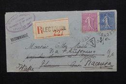 FRANCE - Taxe Sur Enveloppe En Recommandé De Lectoure Pour L 'Italie En 1932 -  L 21030 - Marcophilie (Lettres)