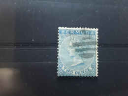 BERMUDA / Bermudes 1865 VICTORIA, Yvert No 2, 2 Pence Bleu Filigrane CC Obl TB - Bermudes