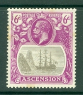 Ascension: 1924/33   KGV - Badge Of St Helena    SG16    6d  MH - Ascension