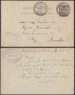 """Maroc 23/08/1900 - EP 10C Surchargé """" Casablanca """" Vers  Bruxelles  (6G19465) DC1523 - Marokko (1891-1956)"""