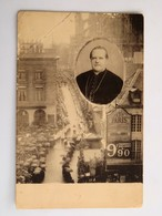 """C.P.A. : 33 BORDEAUX, Funerailles D'un éclésiastique En Médaillon, Publicité """"Au Petit Paris"""", écrite Le 10 Juillet 1908 - Bordeaux"""