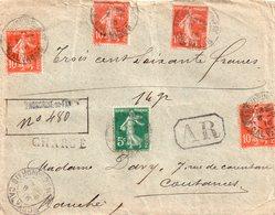 Enveloppe Recommandé AR Avec 5 Timbres Déposée A Ste Honorine Du Faye, Calvados, Avec 5 Cachets De Cire Au Dos - Autres