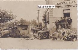 """Rare Carte Photo - Dept 68 -  à 1 KM DE BOLLWILLER - RESTAURANT """" AU NOUVEAU MONDE """" Voitures Accidentées - Autres Communes"""