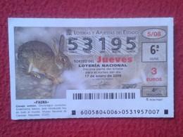 SPAIN DÉCIMO DE LOTERÍA NACIONAL NATIONAL LOTTERY LOTERIE RABBIT LAPIN LIÈVRE HARE HASE LIEBRE CONEJO COMÚN.... VER FOTO - Billetes De Lotería