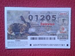 SPAIN DÉCIMO DE LOTERÍA NACIONAL NATIONAL LOTTERY LOTERIE RABBIT LAPIN LIÈVRE HARE HASE LIEBRE IBÉRICA CONEJO...VER FOTO - Billetes De Lotería