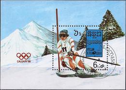Kampuchea 1987 - Calgary Olympics : Downhill Skiing ( Mi Bl 150 - YT BF 57 ) - Kampuchea