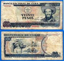 Cuba 20 Pesos 1991 Camilo Cienfusgos Peso Centavos Caraibe Paypal Skrill Bitcoin OK - Cuba