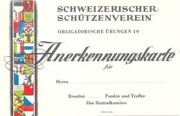 """Anerkennungskarte  """"Schweiz. Schützenverein - Obligarische Uebung""""          Ca. 1960 - Diplômes & Bulletins Scolaires"""