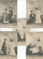 Fantaisie Couples Serie De 5 CPA Complete Les Commandements De La Femme - Couples