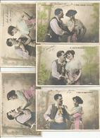 Fantaisie Couples Serie De 5 CPA Complete Amour Question Reponse - Couples
