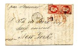 France N°17 X2 (Tarif 1fr.60) De Bordeaux à New York 1860 - (B2092) - 1849-1876: Periodo Classico