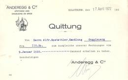 "Quittung  ""Anderegg, Apotheke Und Droguerie En Gros, Solothurn""           1922 - Suisse"
