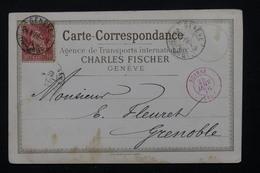 SUISSE - Carte Commerciale De Genève Pour La France En 1876 -  L 21053 - Poststempel