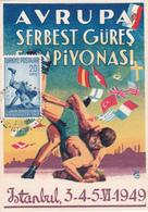 Carte Maximum - Avrupa Serbest Güreş şampiyonası - Championnat Européen De Lutte Libre Greco-Romaine - Istanbul 1949 - 1921-... République
