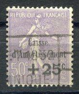 RC 11255 FRANCE N° 276  +25c S. 50c CAISSE D'AMORTISSEMENT COTE 110€ OBL. TB - Usati