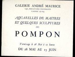 Carte Invitation Galerie André Maurice Exposition Sculpteur Pompon     YN50 - Faire-part