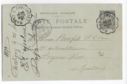 1897 - FERROVIAIRE - MEURTHE ET MOSELLE - AMBULANT De BRIEY à CONFLANS Sur CARTE ENTIER SAGE De SERRY=> AIGUES-VIVES - Postmark Collection (Covers)