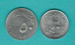 Sudan - AH1419 (1999) - 20 Dinars - KM116  & 50 Dinars - AH1422 (2002) - KM121 - Sudan