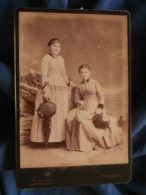 Photo Format Cabinet Sereni à Tarbes - Deux Jeunes Femmes, Chapeaux Et Ombrelles Circa 1885 L414 - Photos