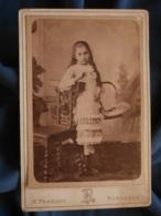 Photo Format Cabinet Panajou à Bordeaux - Fillette Au Panier Circa 1885 L414 - Photos