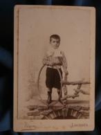 Photo Format Cabinet Viron à Lourdes - Jeune Garçon Avec Son Cerceau, Lavallière Circa 1890 L414 - Photos