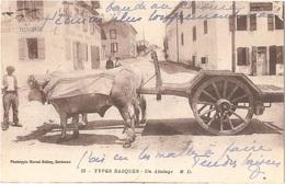 Dépt 64 - BIDART - Un Attelage - édition M. D. N° 15 - Phototypie Marcel Delbey - TYPES BASQUES - (Épicerie AMIGORENA) - Bidart
