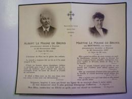 FAIRE-PART De Décès De  Albert Et Marthe  MASNE De BRONS  1930 - 1937   XXX - Décès