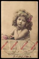 """1910s Old Real Photo Postcard. EDWARDIAN Pretty CHILD GIRL. Circulated 1912 W/4 ANGOLA STAMPS """"Republica"""" - Angola"""