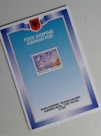 Alt1068 Depliant Informativo Emissione Francobollo Albania Fauna Pellicano Animali 1997 Albanian Post Pelican - Francobolli