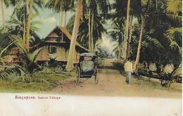 Old Colour Postcard, China, Native Village, Singapore. Cart, Huts, House. - Singapore