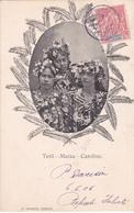 CPA  Tahiti - Timbre Océanie N° 15 - 3 Femmes Tahitiennes:  Terii - Maraa - Caroline - 1906 - Tahiti