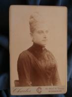 Photo Format Cabinet Charles à Bordeaux - Portrait Jeune Femme Blonde, Chignon Haut Circa 1890-95 L415 - Photos