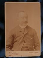 Photo Format Cabinet G. Blanc à Paris - Portrait Homme, Faux Col, épingle Cravate Circa 1890-95 L415 - Photos