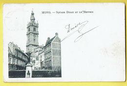 * Mons - Bergen (Hainaut - La Wallonie) * (VED) Square Dolez Et Le Belfroi, Belfort, Statue, Monument, Old, Rare - Mons
