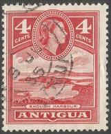 Antigua. 1953-62 QEII. 4c Red Used. Mult Script CA W/M SG 124 - Antigua & Barbuda (...-1981)