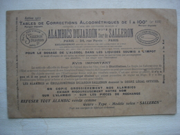 ALAMBICS SALLERON  DUJARDIN Tables Des Corrections Alcoométriques ( Vins Alcool Eaux De Vie Rhums) - Andere Sammlungen