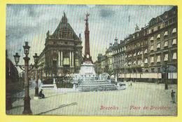 * Brussel - Bruxelles - Brussels * Place De Brouckère, Couleur, Kleur, Fontaine, Monument, Rare, Old - Bruxelles-ville